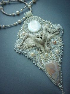 Snowy owl and winter necklace with pearls and Agat. by ElenNoel