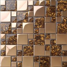 brown crystal glass shell pattern metal stainless steel mosaic tiles for wall decor bathroom shower tiles square pattern