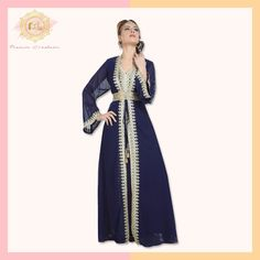 This 3-piece Kaftan set with golden lace work is the perfect balance between style and comfort.  Sport this outfit at a wedding occasion for a graceful look!  Product no: 6443 Kaftan Abaya, Georgette Fabric, Navy Blue Color, Golden Color, Beaded Lace, 3 Piece, Wedding Gowns, Sequins, Classy