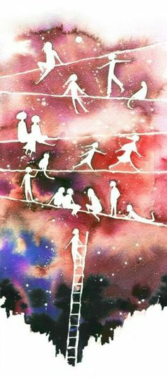 искусство, рисунок, иллюстрация, ребятишки, живопись, звезды, акварель