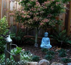 garten eingang pflanztöpfe gartenweg naturstein hohe pflanzen, Hause und Garten