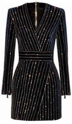 Bead Embellished Velvet Mini Dress