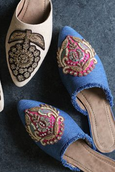 DIY Embellished Mules- OMG I'm totally doing this!! Embellish your own mule slides.