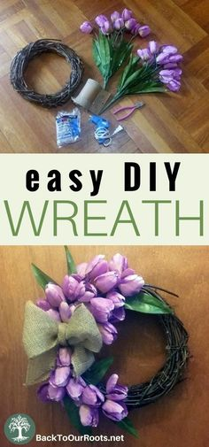 This wreath is easy to put together in about 20 minutes! Change out the flowers for any season! diy easter How to Make a Quick & Easy Spring Tulip Wreath Spring Wreaths For Front Door Diy, Diy Spring Wreath, How To Make Wreaths, Diy Wreath, Spring Crafts, Wreath Making, Winter Wreaths, Burlap Wreaths, Wreath Crafts