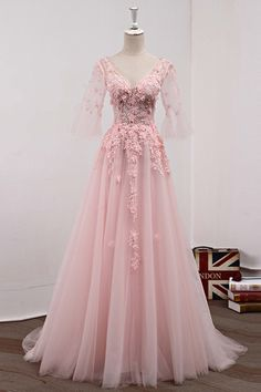 Pink tulle long prom dress with short sleeves from Sweetheart Dress Grad Dresses, Cheap Prom Dresses, Homecoming Dresses, Evening Dresses, Short Dresses, Formal Dresses, Pink Gowns, Pink Dress, Pink Princess Dress