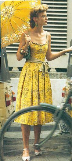 Floral Dress, Midi Dress, Print, Print Dress, Summer, Summer Dress, Vintage Dresses, Yellow Vintage Dress,