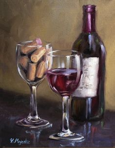 Wine PRINT archival quality made after Oil by ViktoriaMajesticArt, $24.99