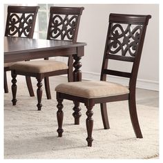 Set of 2 Lilith Side Chairs Walnut - Home Source Industries Windsor Dining Chairs, High Back Dining Chairs, Metal Dining Chairs, Upholstered Dining Chairs, Dining Room Table, Side Chairs, French Kitchen Decor, Hazelwood Home, Cool Kitchens