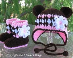 Crochet  Baby Booties and Bear Hat