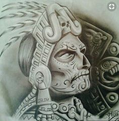 The Anunnaki Ancient Alien Origins Of The Mayan Calendar Explained Calaveras Mexicanas Tattoo, Aztec Warrior Tattoo, Mayan Tattoos, Symbol Tattoos, Polynesian Tattoos, Hand Tattoos, Sleeve Tattoos, Aztec Drawing, Chicano Art Tattoos
