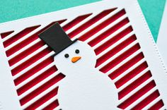 10 Oct 2017 | Memory Box Blog | How to Make Interactive Cards that Move | But when you pull the slider piece out (I stamped the top of it with the Merry Christmas Sentiments set), then you see the background! I chose a bold red, so that the snowman would really stand out.