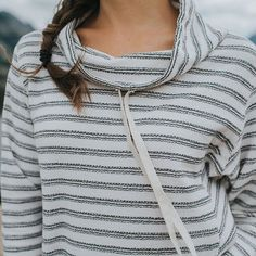 Cowls and stripes keeping us cozy all weekend long. {birch cowl-neck} @albionfit