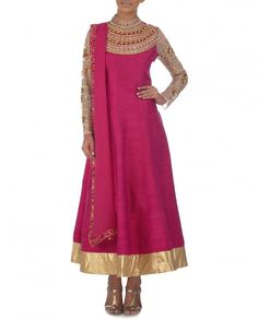 Rose Pink Anarkali Suit with Embellished Yoke - Sonia Saxena - Designers