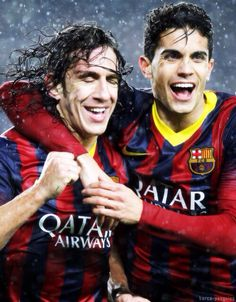 Carles Puyol and Marc Bartra - FC Barcelona Fc Barcelona, Barcelona Football, Barcelona Futbol Club, Marc Bartra, Lionel Messi, Going Bald, Best Club, Sport Inspiration, Bald Heads