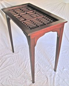 Handmade table in the Arts and Crafts tradition. A unique table that has a drawer made from a repurposed letterpress type box or printers . Rustic Furniture, Painted Furniture, Diy Furniture, Letterpress Drawer, Printers Drawer, Handmade Table, Repurposed Items, My Living Room, Furniture Projects