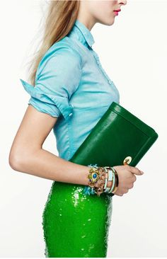 J.Crew love turquoise and apple green!