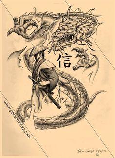 Cool Black And Grey Samurai With Dragon Tattoo Design