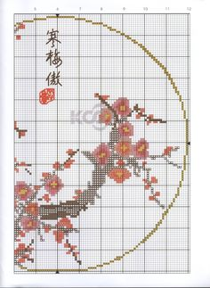 Borduurpatroon Bloem- Plant- Dier *Cross Stitch Flower- Plant- Animal ~Japanse Bloesem 2/2~
