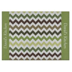 Forest Green Colors Chevron Glass Cutting Board .................This design features a Forest Green Colors pattern. This represent colors that can be found in the forest such as trees, grass and leaves. The TEXT on both sides (left and right) can be customized with your own name. Check out my store for more colors.