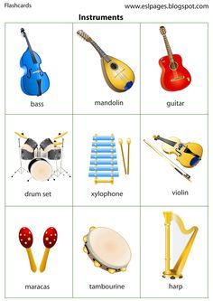 Esl Pages: Instruments Preschool Music Activities, Kindergarten Music, Preschool Writing, Music Lessons For Kids, Drum Lessons, Kids Drum Set, Homemade Instruments, English Vocabulary, Mandolin