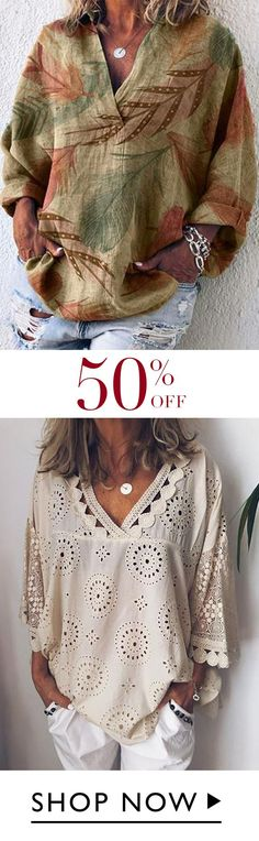 Plus Size V Neck Casual Shirts & Tops - schöne Mode - Mode Xl, Diy Mode, 50 Fashion, Plus Size Fashion, Fashion Outfits, Style Fashion, Boho Mode, Casual Shirts, Casual Outfits