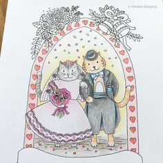 Adorable wedding coloring page by artist Amelia Gregory available on Esty. #wedding #coloring #colouring