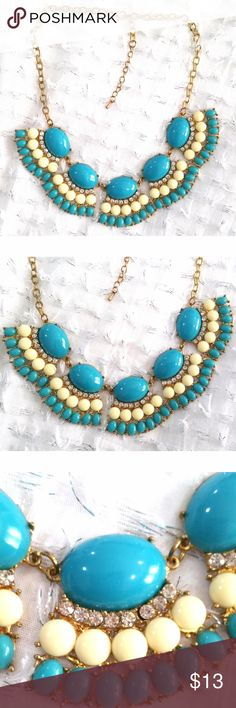 Blue and gold statement necklace fashion jewelry Blue and gold statement necklace fashion jewelry  -preowned but in like new condition! Jewelry Necklaces