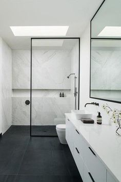 Walk In Shower Stone Feature Marble Bathroom Wall to Wall Niche Wet Room Set Up Black Framed Shower Screen