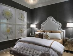 Contemporary Guest Bedroom with Steve leung- yuan wallpaper, Standard height, Gold mirrored nightstand, Upholstered headboard