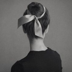 Hair in Bun with Ribbon Bow