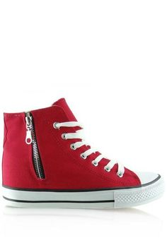 This is a red Wedge heel women sneaker with converse sneaker styling.