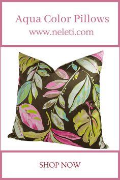 Throw Pillow - Aqua Color Pillow Handmade Cushion Covers, Handmade Cushions, Decorative Pillow Covers, Throw Pillow Covers, Throw Pillows, How To Make Pillows, Colorful Pillows, Aqua Color, Velvet Pillows