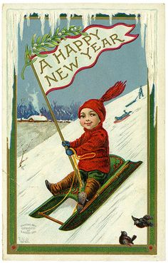 Vintage Happy New Year Card Happy New Year Signs, Vintage Happy New Year, Happy New Year Images, Happy New Year Cards, Happy New Year Greetings, Greetings Images, Vintage Christmas Images, Christmas Art, Vintage Images