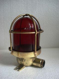 VINTAGE ship's BRASS Passage Light / Lamp - RED GLASS -SHIP'S 100% ORIGINAL