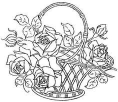 Pintura em Tecido, Riscos, Dicas, Materiais e Passo a Passo: Riscos para pintura em tecido cestas de rosas
