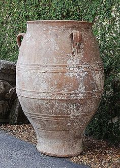Greek Antique Three-Handle Terracotta Olive Oil Jar: