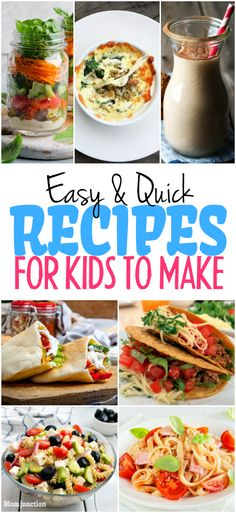 15 Easy And Quick Recipes For Kids To Make : This list has a variety of quick breakfast meal and dessert recipes that your child can help you make. We have also included a few easy dishes that the children can make all by themselves. Quick Meals For Kids, Recipes Kids Can Make, Cooking With Kids Easy, Cooking Classes For Kids, Dinner Recipes For Kids, Healthy Snacks For Kids, Quick Easy Meals, Kids Meals, Healthy Recipes