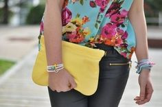 Yellow and flowers and bracelets and zippers!