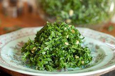 Kale Salad- Lemon juice, olive oil Parmesan cheese.. My favorite way to eat kale