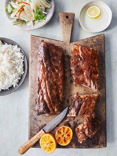Sticky hoisin ribs   Jamie Oliver recipes Best Bbq Recipes, Pork Rib Recipes, Barbecue Recipes, Game Recipes, Sausage Recipes, Yummy Recipes, Baby Back Pork Ribs, Duck Sauce, Salads