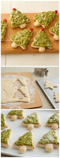 Pillsbury pizza crust + cookie cutter love = pesto Christmas tree pizzas!