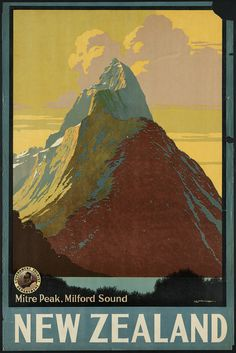 https://flic.kr/p/6o4MU3 | New Zealand. Mitre Peak, Milford Sound | File name: 08_05_000075  Title: New Zealand. Mitre Peak, Milford Sound  Creator/Contributor: Mitchell, L. C. (Leonard Cornwall), 1901-1971 (artist)  Created/Published: Wellington [New Zealand] : G. H. Loney, Government Printer  Date issued: 1910-1959 (approximate)  Physical description: 1 print (poster) : color  Genre: Travel posters; Prints  Subjects: Tourism; Mountains   Notes: Title from item.; Government Tourist…