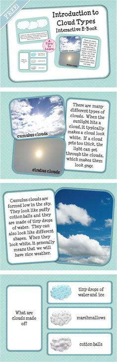 Y'all - perfect for our science/literacy lessons! Introduction to Cloud Types Interactive E-Book for Smart Notebook FREEBIE! First Grade Science, Primary Science, Kindergarten Science, Elementary Science, Science Classroom, Science Education, Teaching Science, Science For Kids, Science Activities