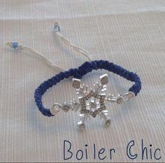 Snowflake Rhinestone Macramé Bracelet by BoilerChic on Etsy, $14.00