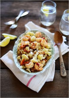 Shrimp with Cauliflower  Almonds - a very high in protein recipe by Fit, Fun  Delish!