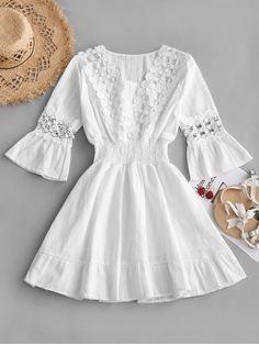 1e041f367dfd89 Crochet Panel Smocked Flare Sleeve Dress