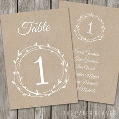 Printable Table Number for Weddings - DIY Kraft Rustic Table Number - Laurel Flower Wedding Reception Decor - Country Outdoor Wedding - TN02