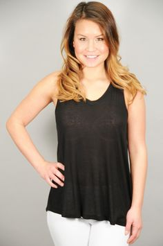 Black V-Neck Basic Tank Top