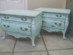 Shabby Aqua Painted Bombe Chest Nightstands \/ End Tables