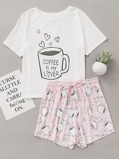 Shop Cups Print Top With Drawstring Waist Shorts Pajama Set online. SheIn offers Cups Print Top With Drawstring Waist Shorts Pajama Set & more to fit your fashionable needs.